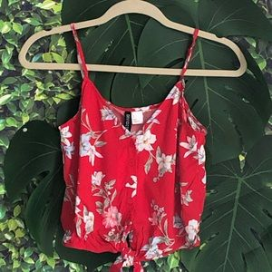 Red Background and Floral Tank Top Size 4